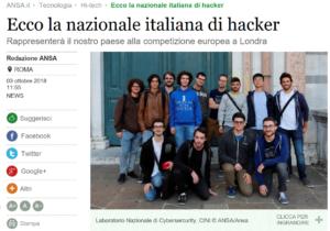 Il nostro allievo Cotignola Christian nella Nazionale Hacker (Buoni !!!!!!!)